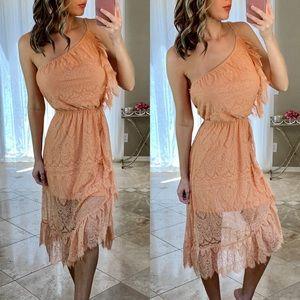 Bebe Lace One Shoulder Asymmetrical Peach Dress